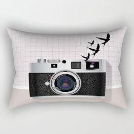 vintage camera and birds Rectangular Pillow