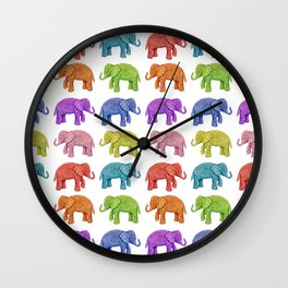 Colorful Parade of Elephants in Red, Orange, Yellow, Green, Blue, Purple and Pink Wall Clock