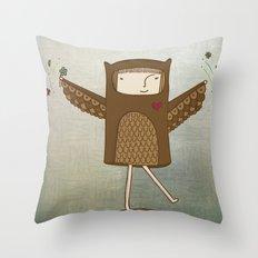 Little Owl Girl Throw Pillow