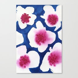Splendor -dark blue and pink floral watercolor Canvas Print