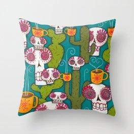 Skulls, Cacti and Atomic Coffee Throw Pillow