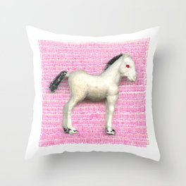 My little foal in a sea of pink Throw Pillow