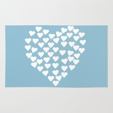 Hearts Heart White on Blue Rug