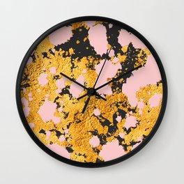 Bling 24-Karat Gold Glitzy Marble on Pastel Pink Wall Clock