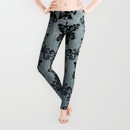 Teal black damask pattern, art nouveau pattern, victorian pattern, vintage pattern, elegant,chic,bea Leggings