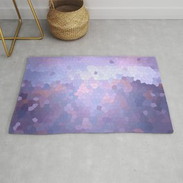 Abstract Stained glass violet mosaic Rug