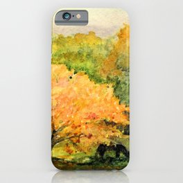 Autumn Landscape Horses Under Maples iPhone Case
