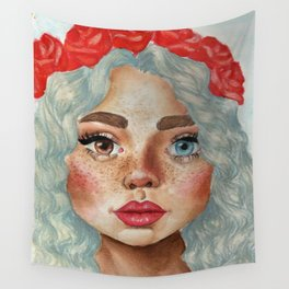 'Girl With Flower Crown' Wall Tapestry