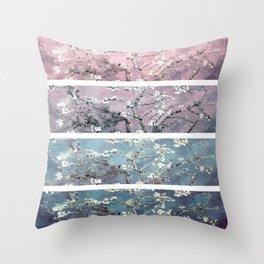Vincent Van Gogh : Almond Blossoms Panel arT Pastel Pink Blue Teal Throw Pillow