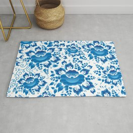 Vintage shabby Chic spring romantic pattern with sky blue flowers Rug