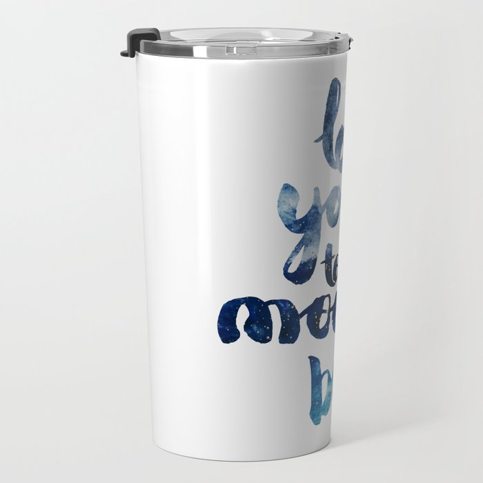 """ROYAL BLUE """"LOVE YOU TO THE MOON AND BACK"""" QUOTE Travel Mug"""