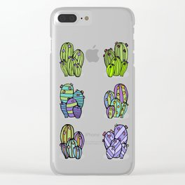 6 Striped Flowering Cacti Clear iPhone Case