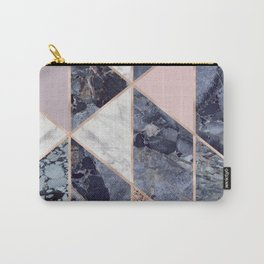 Marble Triangle Pattern Modern Damask Veined Marble Indio Blue Orange Carry-All Pouch