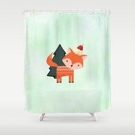 Orange Fox in Santa Hat in front of a Pine Tree Shower Curtain