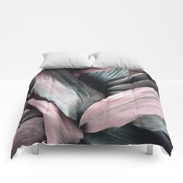 Pink Plant Leaves Comforters