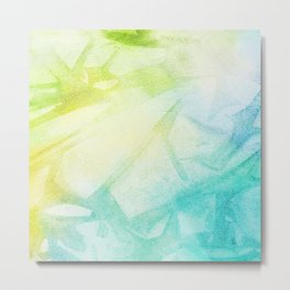 Abstract lime green teal hand painted watercolor pattern Metal Print