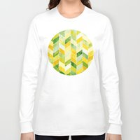 herringbone Long Sleeve T-shirts featuring Green Herringbone by MirKat Design