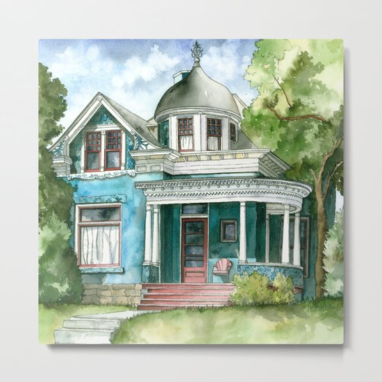 The House with Red Trim Metal Print