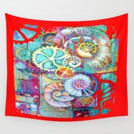 MODERN ART RED CLOCK WORK ABSTRACT ART Wall Tapestry