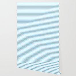 Oktoberfest Bavarian Blue and White Large Mattress Ticking Stripes Wallpaper