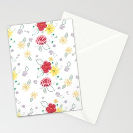 Red and Yellow Floral Stationery Cards