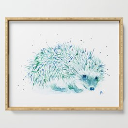 Abstract Blue Hedgehog Watercolor Serving Tray