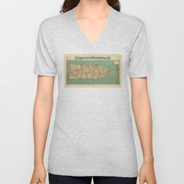 Map of Puerto Rico (Porto Rico) circa 1915 Unisex V-Neck
