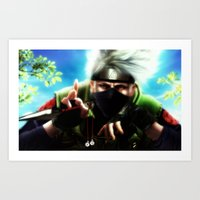 kakashi Art Prints featuring Kakashi sensei by Shibuz4