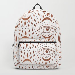 Mystic Eye - copper, rosegold, mystical art, eveil eye, eye design, linocut home dec monoo Backpack