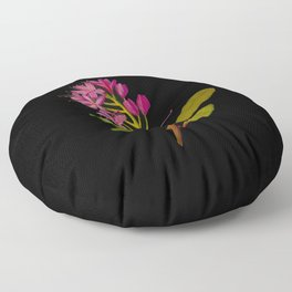 Rhododendron Ponticum Mary Delany British Botanical Floral Art Paper Flowers Black Background Floor Pillow