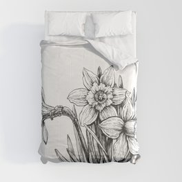 Daffodils ink drawing       Comforters