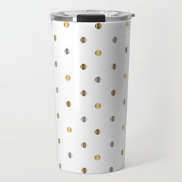 Silver and Gold Polka Dot Design Travel Mug
