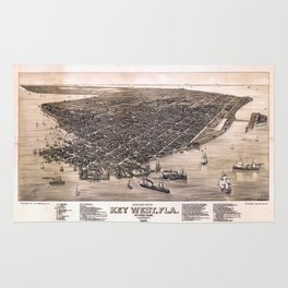 Bird's Eye View of Key West, Florida (1884) Rug