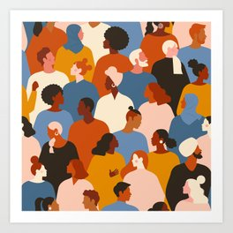 Diverse group of stylish people standing together. Art Print