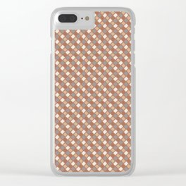 Cavern Clay SW 7701 and Accent Colors Abstract Rippled Diamond Square Grid Pattern Clear iPhone Case