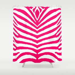 Bright Neon Pink and White Zebra Animal Safari Stripes Shower Curtain