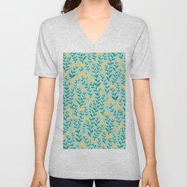 Emerald green and Yellow Minimal Retro Flowers Pattern Unisex V-Neck
