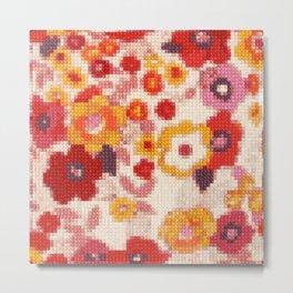 Cross Stitch Flowers Metal Print