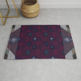 Lotus flower patchwork - woodblock print style pattern Rug