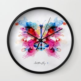 Monotype colorful butterfly Wall Clock