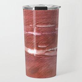 Red Brown nebulous wash drawing pattern Travel Mug