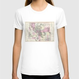 Vintage Map of Montana, Wyoming and Idaho (1884) T-shirt
