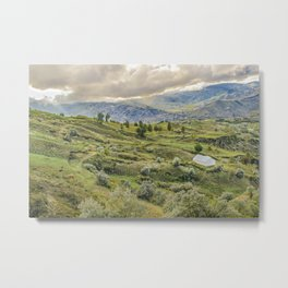 Andean Rural Scene at Quilotoa Town, Ecuador Metal Print