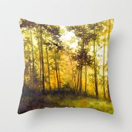 treescape - watercolor painting Throw Pillow