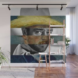 Van Gogh's Self Portrait with Straw Hat & John Wayne Wall Mural