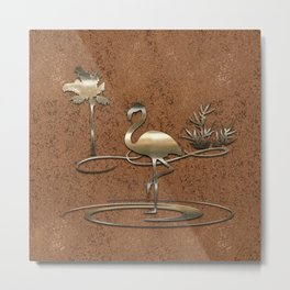 Funny Flamingo in Copper & Gold Metal Print