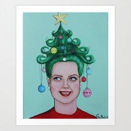 Christmas Tree Hair Art Print