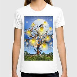 Cherry tree blossom garden with yellow lanterns and moonlight T-shirt