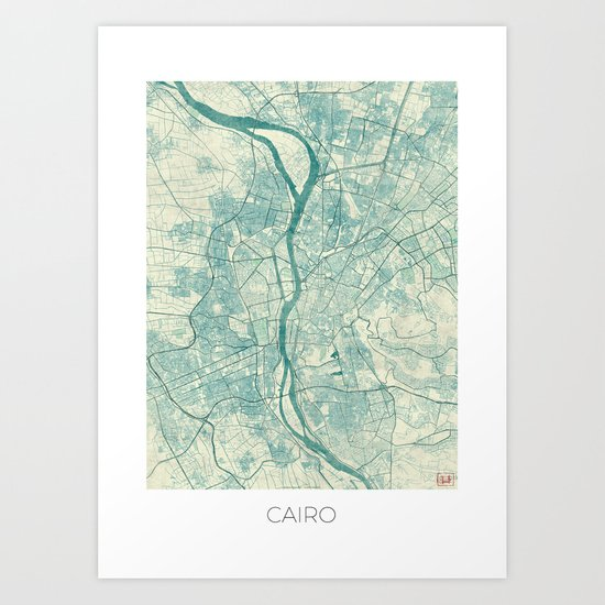 Cairo Map Blue Vintage Art Print