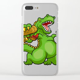 dinosaur eating hamburger Clear iPhone Case